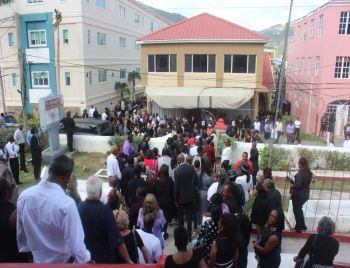 Family, friends and well wishers following the funeral service of Clevaughn M. Sweeney and Jerome N. L. Chiddick. Photo: VINO