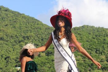Mrs BVI Angelle A. Cameron models a hat available at One Stop Mall. Photo: VINO