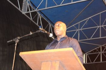 Minister for Education and Culture Myron V. Walwyn speaking at the ceremony. Photo: VINO