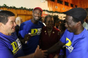 Javier De Jesus (left) seen recently on the Christensen-Ottley campaign trail. Photo: Provided