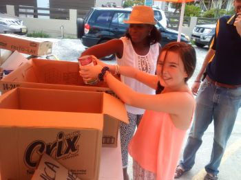 Several children also donated to the food drive for Dominica on August 29, 2015. Photo: VINO