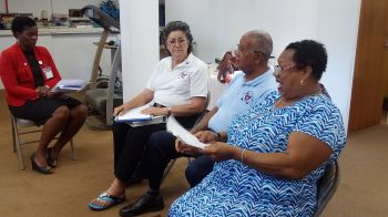 From right: President of Virgin Gorda BVI Diabetes Association, Franka Pickering; Mr Elton Georges CMG, OBE, and President of the association's Tortola branch, Astrid C. Wenzke at the press conference on November 7, 2016. Photo: VINO