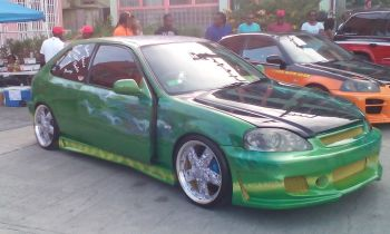Green Honda Civic owned by Rodney Beharry, received a cash prize of $300 in the Sound Pressure Level (SPL) category 1 which came in at 153.1db. Photo: VINO