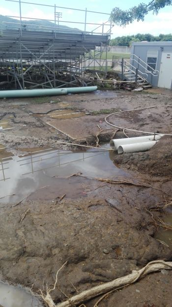 The entrance to the A.O. Shirley Ground from the Botanic Gas Station has been reduced to a swamp. Photo: VINO