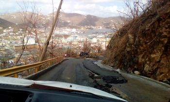 Many roads were damaged during the hurricanes of September 2017 and some of them remain in their damaged state some six months out. Photo: VINO