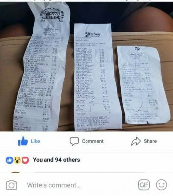 Disgruntled resident comparing prices on their social media page while making claims that One Mart is engaging in price gouging. Photo: Facebook