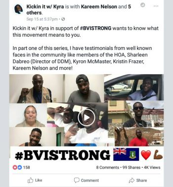 Testimonials of what the #BVISTRONG movement means to persons within the community. Photo: Facebook