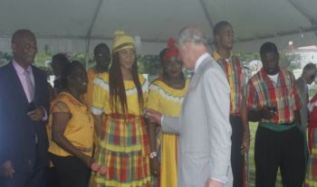 Prince of Wales, Charles P. A. George greeting members of the heritage dancers at the Queen Elizabeth II Park yesterday, November 18, 2017. Photo: VINO