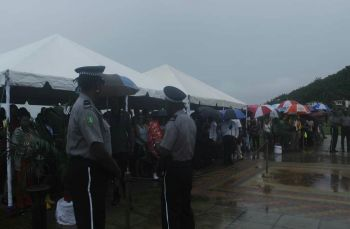 Scores of residents turned out despite the cloudy skies and heavy rainfall to meet the Prince of Wales, Charles P. A. George at the Queen Elizabeth II Park on November 18, 2017. Photo: VINO