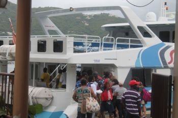 The rush to get home to Virgin Gorda from Tortola. Speedy's was the only ferry service to remain working until around 6:00 pm. Photo: VINO