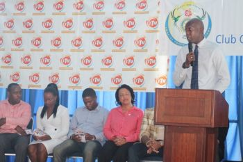 Hon Myron V. Walwyn, Minister for Education and Culture speaking at the 'I am a Lady' workshop held on October 16, 2014 hosted by Follow the Movement. Photo: VINO