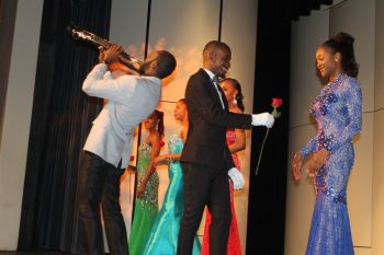 Saxophonist Jeremy Vanterpool serenades the contestants of the Miss World BVI pageant on October 3, 2015. Photo: VINO