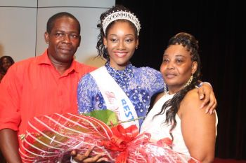 Proud parents! Mr Lawrence C. Wintz and Mrs Yonette R. Adams-Wintz with their daughter and Miss World BVI 2015/16 Sasha O. E. Wintz. Photo: VINO