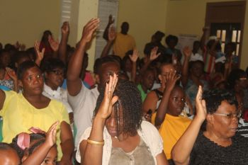 A section of the audience at the Back to School Motivational Session at the Abraham Leonard Community Centre. Photo: VINO
