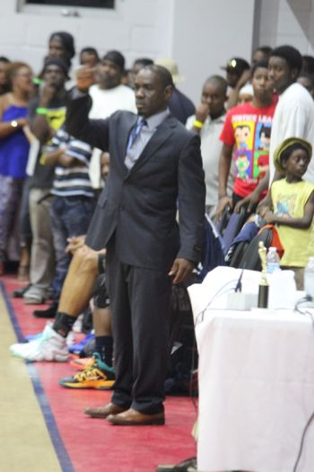Mr Verne W. Turnbull doing duties as Head Coach of Knights on August 15, 2015 when they lost to Bayside Blazers after throwing away an 18-point lead in the 4th quarter. Photo: VINO/File