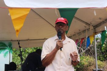 Honouable D. Orlando Smith (AL), Premier and Minister of Finance, expressed that he was very pleased to see the arrangement of the field while encouraging everyone to not let the effects of the hurricane of September 2017 'dampen the spirits' of people. Photo: VINO