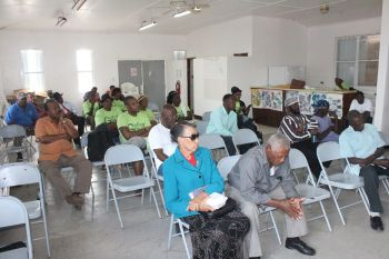 Some of the persons at the meeting hosted by the Ready Committee at the Emile E. Dunlop Community Centre in Anegada on April 19, 2015. According to Mr Elton L. Sprauve aka 'All out', who attended the meeting, said once he is elected to the Ninth District seat there will be no rest for him as he represents the district, acknowledging that he has big shoes to fill. Photo: VINO