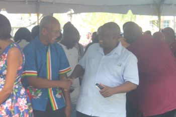 Governor Kenneth E. Mapp said he is looking forward to getting to know Premier and Minister of Finance Dr The Honourable D. Orlando Smith more and he is also looking forward to spending more time in this territory. Photo: VINO