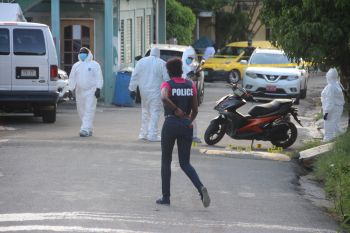 Police on the scene of the fatal shooting in Baughers Bay on November 6, 2020. Mr Everton McMaster Jr was killed. Photo: VINO