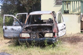 The derelict vehicle which was set alight. Photo: VINO