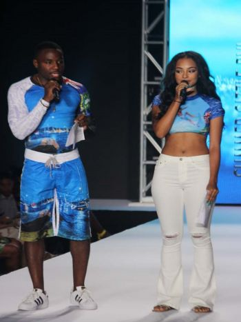 B'More, VI's very own, standing alongside the American R&B/Pop artist, model and actress, Jessica Jarrell, as they were the host for the BVI Swim and Resort runway show held onFriday, July 21, 2017 at the Multi-Purpose Sports Complex in Road Town. Photo: VINO
