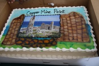 The cake for the commissioning of the Copper Mine Point Visitor Centre. Photo: VINO