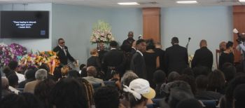 Family, friends and well wishers paying their last respect. Photo: VINO
