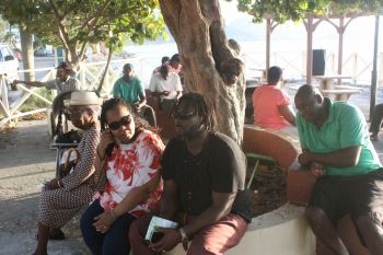 A gathering of First District residents who Hon Fahie was addressing last year. Photo: VINO/File