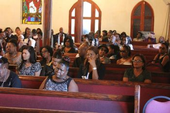 Inside the Road Town Methodist Church at the funeral of Bryan Malone aka Tutor. Photo: VINO