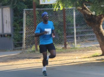 Jermain Abrams about to complete the gruelling 10K course on Virgin Gorda on April 25, 2015. Photo: VINO