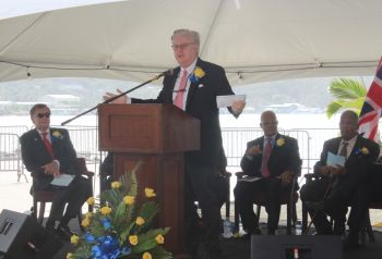 Speaking at the official opening ceremony of the expanded cruise pier on Wickham's Cay I, Tortola this morning, April 29, 2015, Mr Colin Murphy, Senior Vice President, Destination and Port Operations, Norwegian Cruise Line Holdings Limited urged the Government of the Virgin Islands to never lose focus on the product the territory is offering tourists, which is a unique one as compared to the wider Caribbean. Photo: VINO