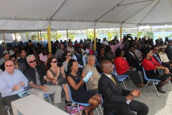 A section of the audience at the official opening ceremony for the expanded cruise pier on April 29, 2015. Photo: VINO
