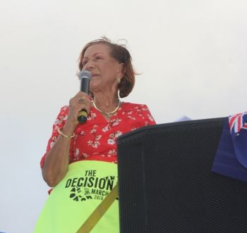 Patsy C. Lake, businesswoman and local activist, said that the march could make a serious difference despite the fact that the UK's bill received the royal assent and became law the day before the march. Photo: VINO