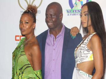From left: Eva Marcille, winner of America's Next Top Model Cycle 3, TV host and actress, Summer Sizzle BVI founder Terry T. Donovan and Jessica Jarrell, an American R&B/Pop artiste and actress. Photo: VINO