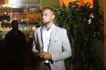 """Darrio Prescod, International Brand Ambassador for Mount Gay Distilleries in Barbados, thanked the guest for coming out and supporting a """"worthy cause"""" while noting that he believes that it is also good to remember where you came from and to give back. Photo: VINO"""