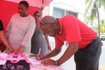 A number of men turned out to support the Breast Cancer awareness activity. Photo: VINO