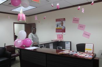 Sections of the interior of the CIBC First Caribbean International Bank has been transformed with decorations in support of Breast Cancer Awareness Month. Photo: VINO
