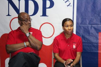 At Large candidate for the National Democratic Party (NDP) and Minister for Health and Social Development Honourable Ronnie W. Skelton and First District candidate for the NDP Shaina M. Smith. Photo: VINO