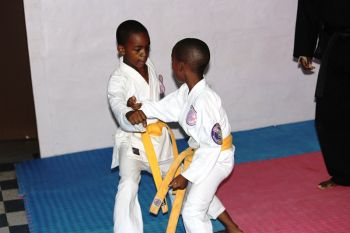 Students participate in training at the Purple Dragon dojo in Road Town. Photo:VINO