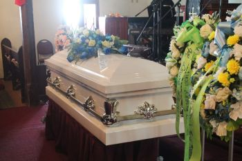 The casket bearing the body of Mr David N. James aka 'Bush' at the Road Town Methodist Church on December 29, 2015. Photo: VINO