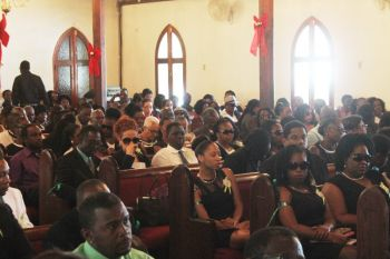 Inside the Road Town Methodist Church where the viewing and funeral service for David N. James aka 'Bush' was held on December 29, 2015. Photo: VINO
