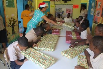 Scene from the treat to the students of the Eslyn Henley Richiez learning centre from Digicel BVI. Photo: VINO