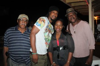 He said that his coming to the VI also has a lot to do with him showing his love to Virgin Islander Mr Dave Douglas (left) who has been credited for playing a major role in marking his father Banky Banks in the music industry. Photo: VINO