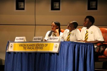Debaters of the Virgin Islands School of Technical Studies (VISTS) paying keen attention as the Proposition stated their arguments. Photo: VINO