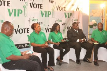 From left are At Large candidates Dr Karl Dawson, Charmaine R. Rosan-Bunbury and Sharie B. de Castro, VIP Second District candidate Rajah A. Smith and VIP Chairman and Third District incumbent candidate Hon Julian Fraser RA. Photo: VINO