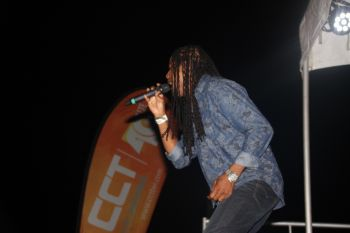 Martino 'Tino' Marks performing his groovy soca for the audience. Photo: VINO