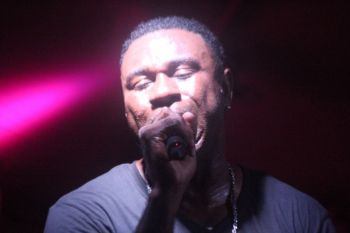 Eustace 'Boss' Freeman, the lead vocalist of Showtime Band, hitting the notes for the crowd. Photo: VINO