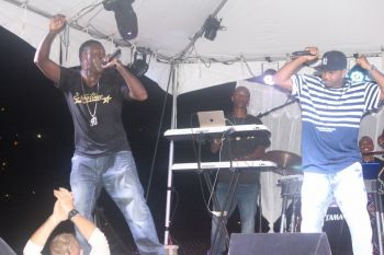 Eustace 'Boss' Freeman and Dante Whatley take to the stage during the midpoint of Showtime Band's performance. Photo: VINO