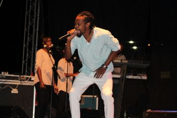 Member of the GRATE BVI music Alliance, Drastic adding his touch to the entertainment for the night. Photo: VINO