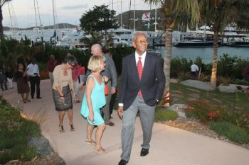 Premier Dr the Honourable D. Orlando Smith arrives for the event at Oil Nut Bay, Virgin Gorda on March 20, 2013. Photo: VINO